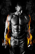 Hot Iron Prints - Athletic Muscular young man with Weights on Fire for Motivation  Print by Jt PhotoDesign