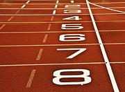 Athletics Running Track Start Finish Line Print by Matthew Gibson