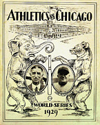 Chicago Digital Art Metal Prints - Athletics vs Chicago 1929 World Series Metal Print by Digital Reproductions