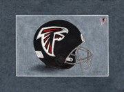 Football Helmets Posters - Atlanta Falcons Football Helmet Poster by Herb Strobino