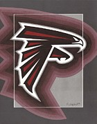 Pro Football Painting Framed Prints - Atlanta Falcons Logo Framed Print by Herb Strobino