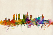 Urban Watercolor Digital Art Prints - Atlanta Georgia Skyline Print by Michael Tompsett