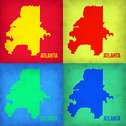 World Map Digital Art Metal Prints - Atlanta Pop Art Map 1 Metal Print by Irina  March