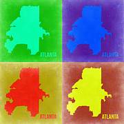 Street Mixed Media Metal Prints - Atlanta Pop Art Map 2 Metal Print by Irina  March