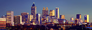 Atlanta Framed Prints - Atlanta Skyline at Dusk Downtown Color Panorama Framed Print by Jon Holiday