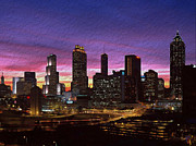 Red Buildings Digital Art Posters - Atlanta Skyline Poster by Byron Fli Walker