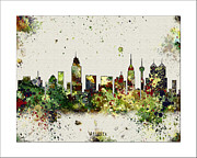 World Map Canvas Digital Art Metal Prints - Atlanta Skyline Metal Print by WaterColorMaps Chris and Mary Ann