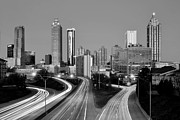Atlanta Skyline Art - Atlanta Skyline in Morning Downtown Light trails BW Black and white by Jon Holiday