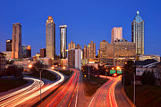 Atlanta Framed Prints - Atlanta Skyline in Morning Downtown Light trails Color Framed Print by Jon Holiday
