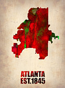 Modern Poster Metal Prints - Atlanta Watercolor Map Metal Print by Irina  March