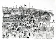 Atlantic Beaches Drawings Prints - Atlantic City Boardwalk 1890 Print by Ira Shander