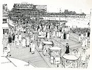 New Jersey Drawings Originals - Atlantic City Boardwalk 1940 by Ira Shander