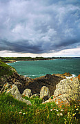 Natural Storm Posters - Atlantic coastline in Brittany Poster by Elena Elisseeva