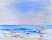 Sea Oats Pastels Prints - Atlantic Evening Print by MM Anderson
