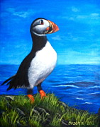 Puffin Paintings - Atlantic Puffin 2 by Bozena Zajaczkowska