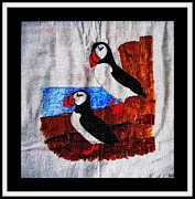 Parrot Art Mixed Media - Atlantic Puffins by Barbara Griffin