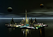 Moonscape Digital Art Prints - Atlantis By Night Print by Joseph Soiza