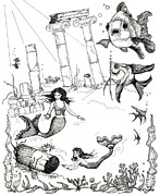 Atlantis Drawings Metal Prints - Atlantis Mermaids Metal Print by Rita Welegala