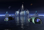 Moonscape Digital Art Prints - Atlantis Night Patrol Print by Joseph Soiza