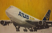 Planes Drawings Framed Prints - Atlas Air B747 Framed Print by Felix  Vega