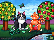 Felines Painting Prints - Atom and Eva Print by Victoria De Almeida