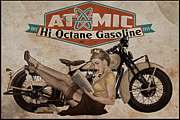 Vintage Advertising Posters - Atomic Gasoline Poster by Cinema Photography