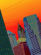 New York City Skyline Digital Art Posters - Atomic Skyline Poster by Andy Heavens