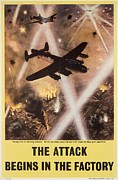 Plane Drawings Prints - Attack begins in factory propaganda poster from World War II Print by Anonymous