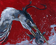 Great Blue Heron Paintings - Attack From an Angel by Eve McCauley