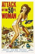 Movie Stars Framed Prints - Attack of the 50 FT Woman Poster Framed Print by Sanely Great