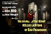 Humourous Framed Prints - Attack of The Giant Killer Ladybug of San Francisco 7D4262 with text Framed Print by Wingsdomain Art and Photography