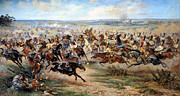 Horse Images Digital Art Prints - Attack Of The Horse Regiment Print by Victor Mazurovsky