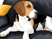 Beagle Paintings - Attention by Veronica Minozzi