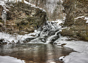 Wintry Posters - Atticus Falls in Winter Poster by Lori Deiter