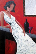 White Dress Painting Originals - Attitude by Rosie Sherman