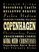 Copenhagen Denmark  Digital Art Prints - Attraction and Famous Places of Copenhagen Denmark Print by Joy House Studio