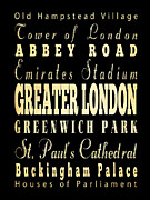 Abbey Road Digital Art Prints - Attraction and Famous Places of Greater London England Print by Joy House Studio