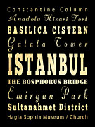 Istanbul Digital Art Posters - Attraction and Famous Places of Istanbul Turkey Poster by Joy House Studio