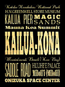 Hawai Digital Art Prints - Attraction and Famous Places of Kailua-Kona Hawai Print by Joy House Studio