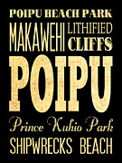 Lithified Posters - Attraction and Famous Places of Poipu Hawaii Poster by Joy House Studio