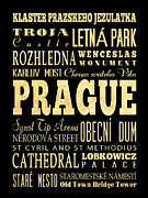 Prague Digital Art Prints - Attraction and Famous Places of Prague Czech Republic Print by Joy House Studio
