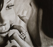 Rihanna Drawings - Attraction by Jimmy Chard