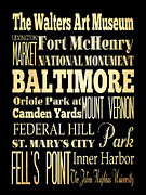 Bus Roll Art - Attractions and Famous Places of Baltimore Maryland by Joy House Studio