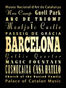 Magic Bus Posters - Attractions and Famous Places of Barcelona Spain Poster by Joy House Studio