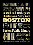 Fenway Park Digital Art Prints - Attractions and Famous Places of Boston Massachusetts Print by Joy House Studio