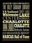Charlotte Digital Art Posters - Attractions and Famous Places of Charlotte North Carolina Poster by Joy House Studio