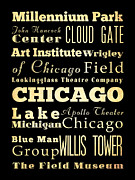 Willis Tower Digital Art - Attractions and Famous Places of Chicago Illinois by Joy House Studio