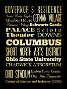 Bus Roll Art - Attractions and Famous Places of Columbus Ohio by Joy House Studio