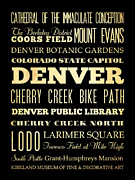 Bus Roll Art - Attractions and Famous Places of Denver Colorado by Joy House Studio