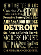 Ambassador Digital Art Prints - Attractions and Famous Places of Detroit Michigan Print by Joy House Studio